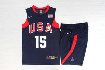 Team USA Basketball 15 Carmelo Anthony Navy Nike Stitched Jersey(With Shorts)