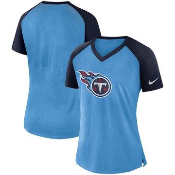 Tennessee Titans Nike Women's Top V Neck T-Shirt Light Blue Navy