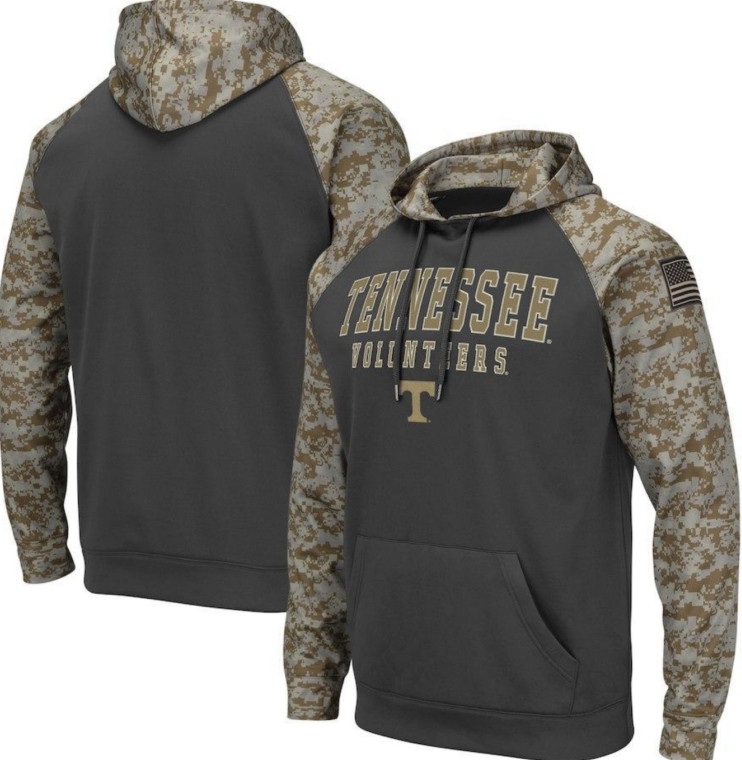 Tennessee Volunteers Gray Camo Men's Pullover Hoodie