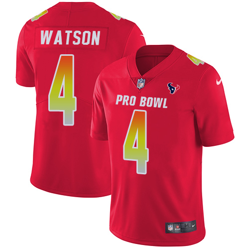 Texans #4 Deshaun Watson Red Youth Stitched Football Limited AFC 2019 Pro Bowl Jersey
