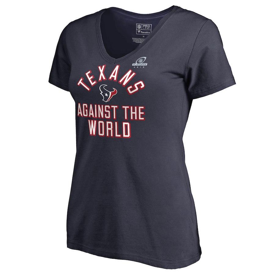 Texans Navy Women's 2018 NFL Playoffs Against The World T-Shirt
