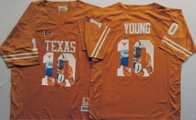 Texas Longhorns 10 Vince Young Orange Portrait Number College Jersey