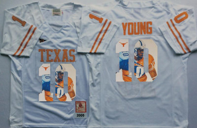 Texas Longhorns 10 Vince Young White Portrait Number College Jersey