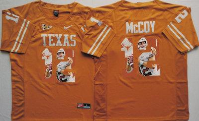 Texas Longhorns 12 Colt McCoy Orange Portrait Number College Jersey