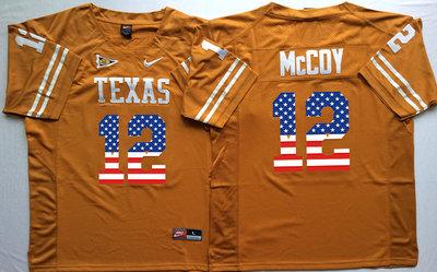 Texas Longhorns 12 Colt McCoy Orange USA Flag College Jersey