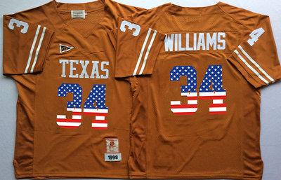 Texas Longhorns 34 Ricky Williams Orange USA Flag College Jersey