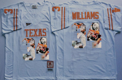 Texas Longhorns 34 Ricky Williams White Portrait Number College Jersey