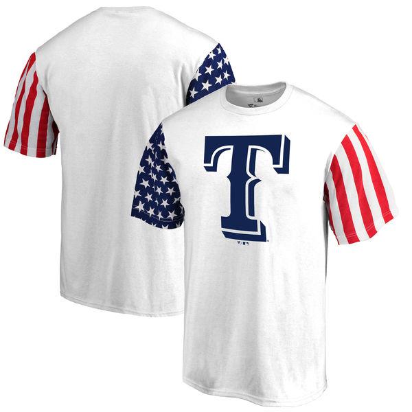 Texas Rangers Fanatics Branded Stars & Stripes T-Shirt White