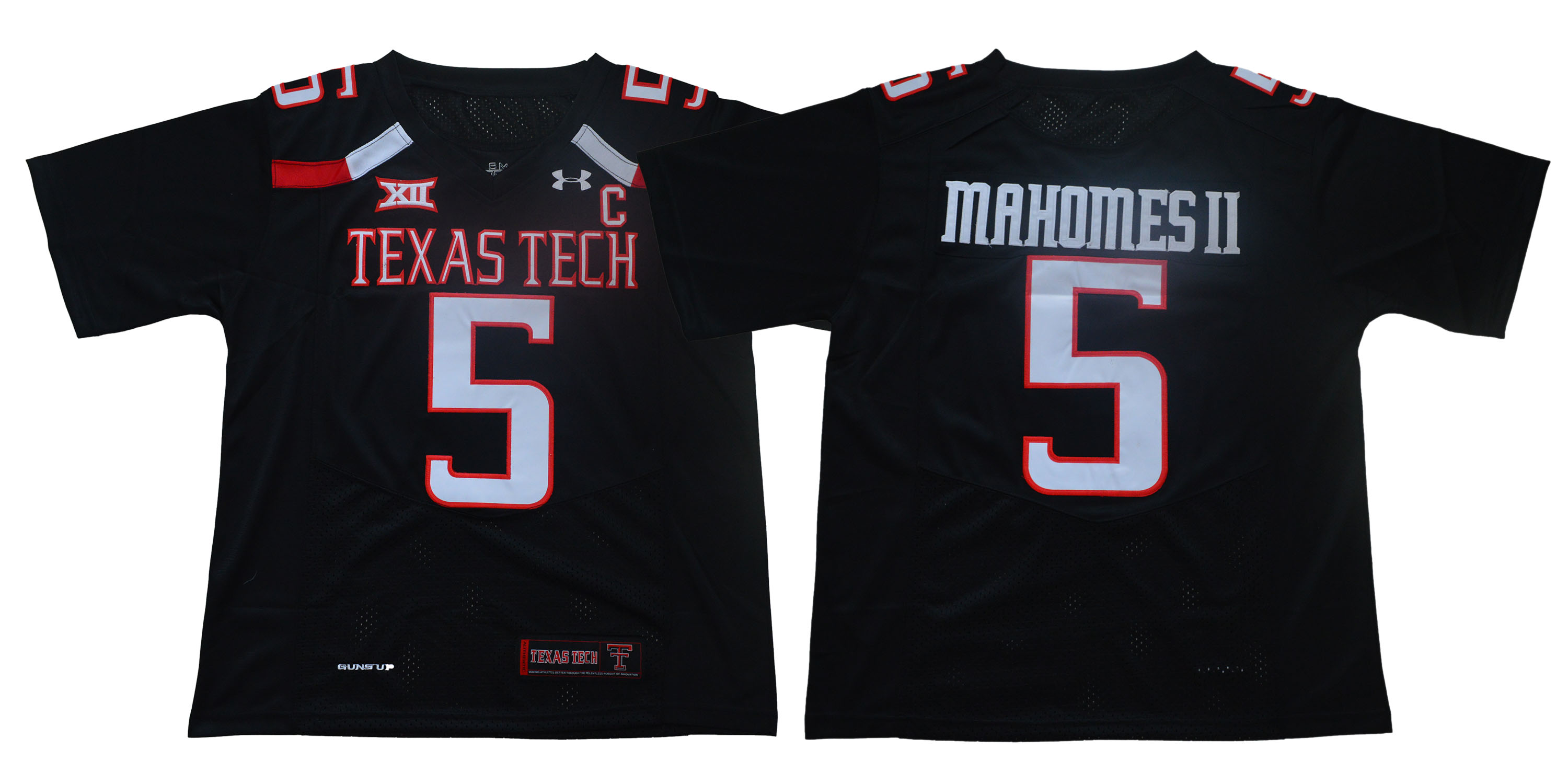 Texas Tech Red Raiders 5 Patrick Mahomes Black With C Patch College Football Jersey