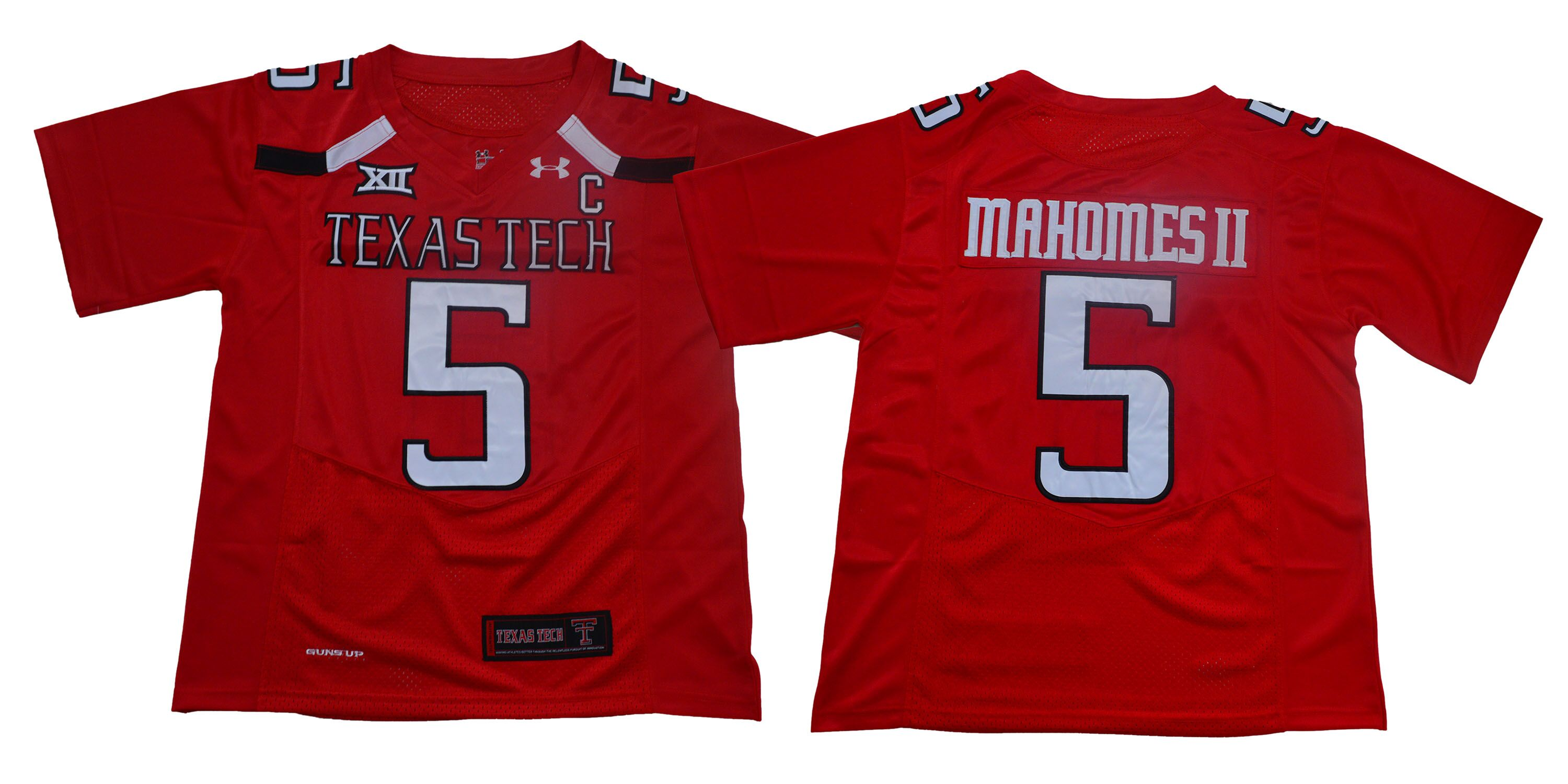 Texas Tech Red Raiders 5 Patrick Mahomes Red With C Patch College Football Jersey
