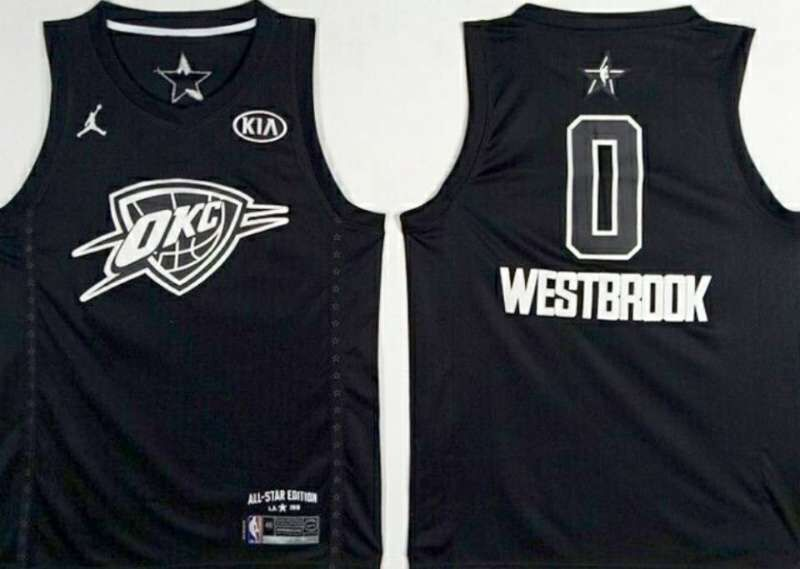 Thunder 0 Russell Westbrook Black 2018 All-Star Game Jordan Brand Authentic Jersey
