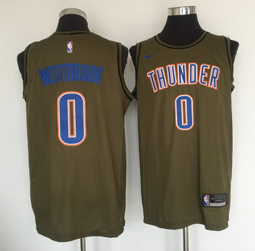 Thunder 0 Russell Westbrook Olive Nike Swingman Jersey