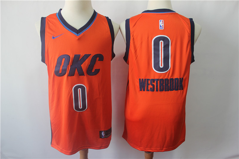 Thunder 0 Russell Westbrook Orange 2018-19 Earned Edition Nike Swingman Jersey