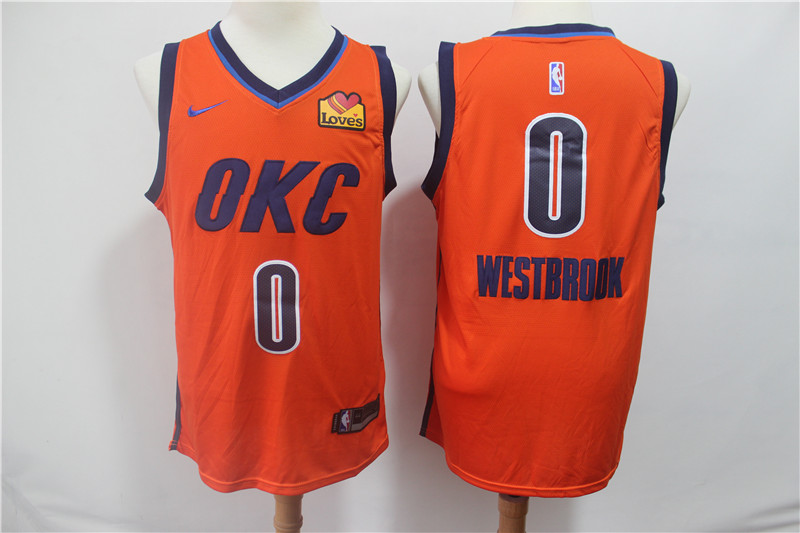 Thunder 0 Russell Westbrook Orange 2019 Earned Edition Nike Swingman Jersey