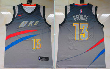 Thunder 13 Paul George Gray City Edition Nike Swingman Jersey