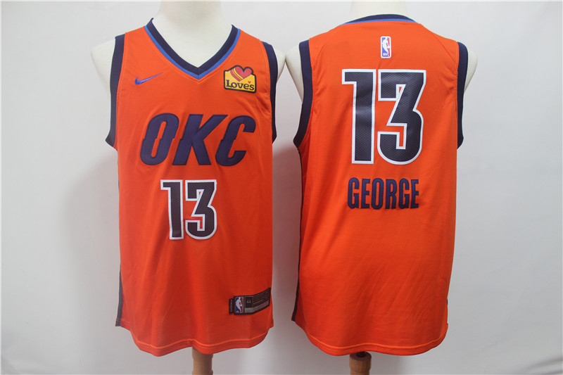 Thunder 13 Paul George Orange 2019 Earned Edition Nike Swingman Jersey