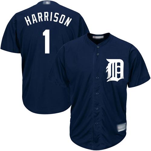 Tigers #1 Josh Harrison Navy Blue New Cool Base Stitched Baseball Jersey