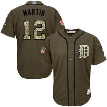 Tigers #12 Leonys Martin Green Salute to Service Stitched Baseball Jersey