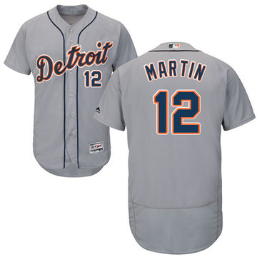 Tigers #12 Leonys Martin Grey Flexbase Authentic Collection Stitched Baseball Jersey