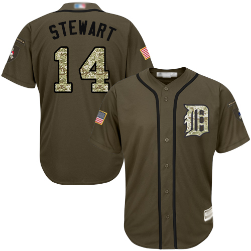 Tigers #14 Christin Stewart Green Salute to Service Stitched Youth Baseball Jersey
