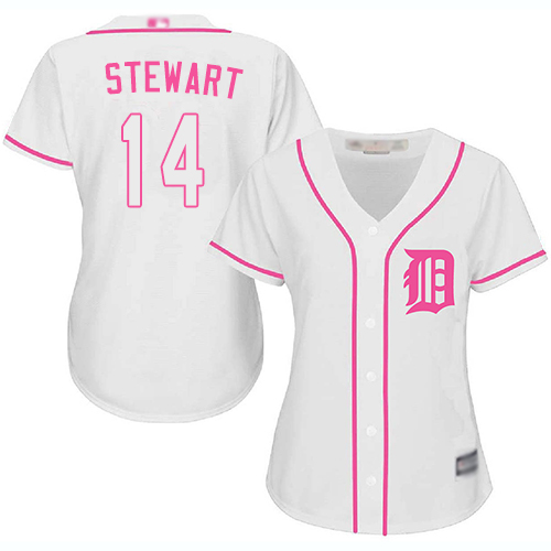 Tigers #14 Christin Stewart White Pink Fashion Women's Stitched Baseball Jersey
