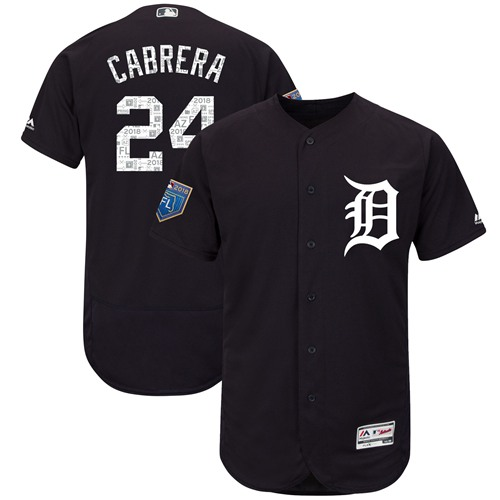 Tigers #24 Miguel Cabrera Navy Blue 2018 Spring Training Authentic Flex Base Stitched MLB Jersey