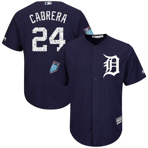 Tigers #24 Miguel Cabrera Navy Blue 2018 Spring Training Cool Base Stitched MLB Jersey