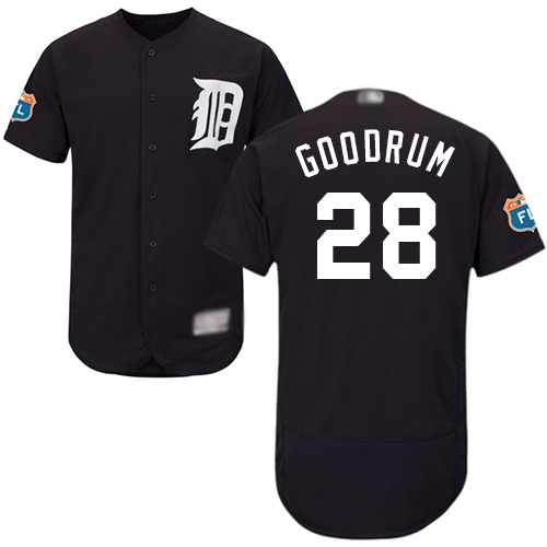 Tigers #28 Niko Goodrum Navy Blue Flexbase Authentic Collection Stitched Baseball Jersey