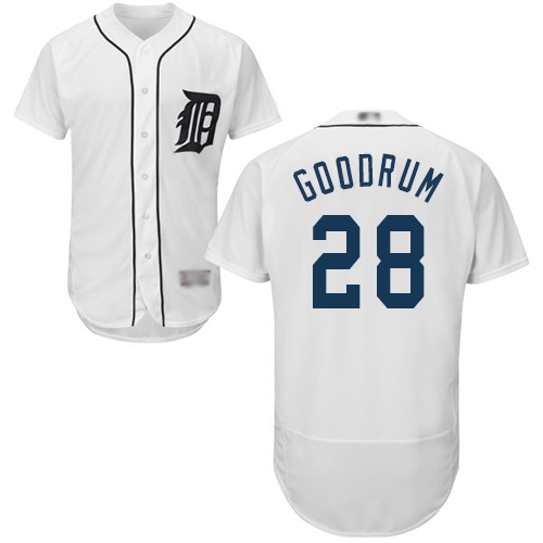 Tigers #28 Niko Goodrum White Flexbase Authentic Collection Stitched Baseball Jersey