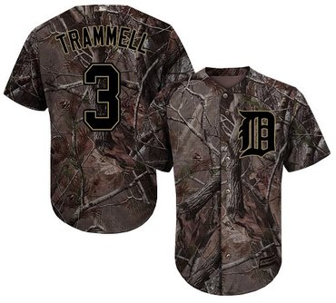 Tigers #3 Alan Trammell Camo Realtree Collection Cool Base Stitched Baseball Jersey