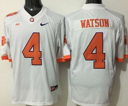 Tigers #4 Deshaun Watson White Limited Stitched NCAA Jersey