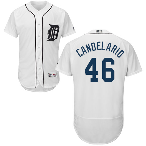 Tigers #46 Jeimer Candelario White Flexbase Authentic Collection Stitched Baseball Jersey