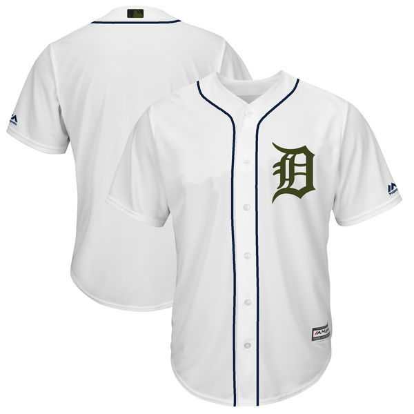 Tigers Blank White 2018 Memorial Day Cool Base Jersey