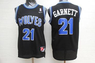 Timberwolves 21 Kevin Garnett Black Nike Swingman Jersey