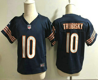Toddler Chicago Bears #10 Mitchell Trubisky Navy Blue Team Color Stitched NFL Nike Game Jersey