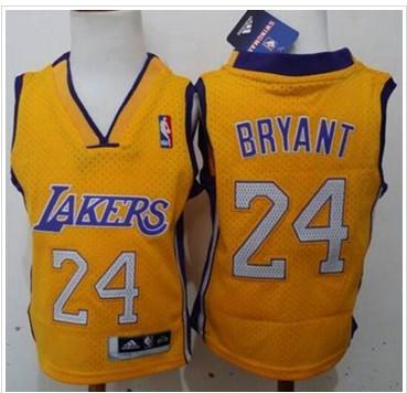 Toddler Lakers #24 Kobe Bryant Gold Stitched NBA Jersey