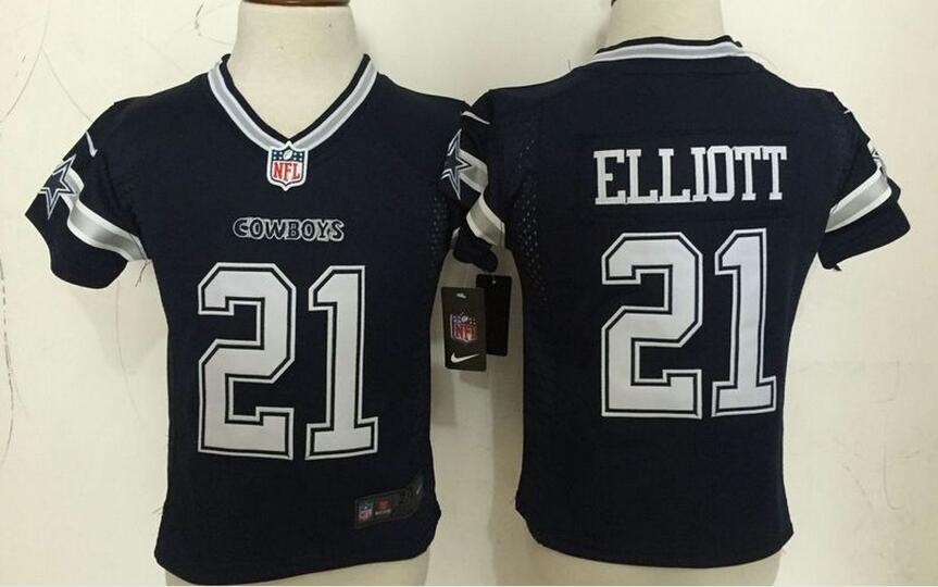 Toddler NEW Cowboys #21 Ezekiel Elliott Navy Blue Stitched NFL Elite Jersey