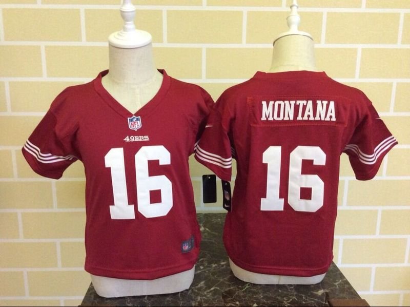 Toddler Nike 49ers 16 Joe Montana Red Game Jersey