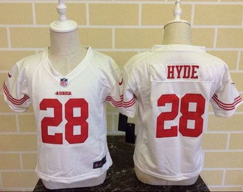 Toddler Nike San Francisco 49ers #28 Carlos Hyde White Stitched NFL Elite Jersey