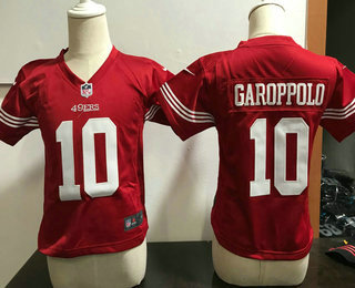Toddler San Francisco 49ers #10 Jimmy Garoppolo Scarlet Red Team Color Stitched NFL Nike Game Jersey