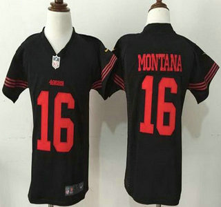 Toddler San Francisco 49ers #16 Joe Montana Black Retired Player 2015 NFL Nike Jersey
