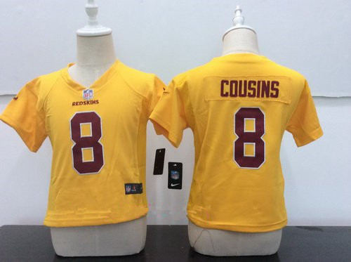 Toddler Washington Redskins #8 Kirk Cousins Gold 2016 Color Rush Stitched NFL Nike Game Jerse