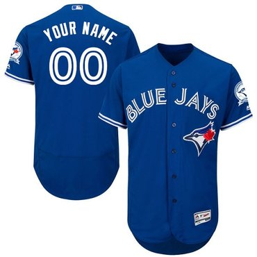 Toronto Blue Jays Blue With 40th Anniversary Patch Men's Flexbase Customized Jersey