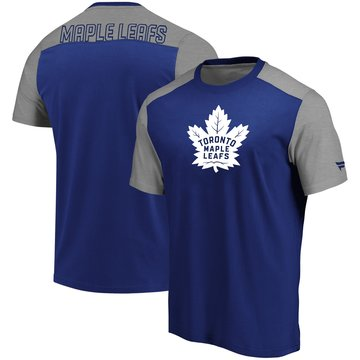 Toronto Maple Leafs Fanatics Branded Iconic Blocked T-Shirt BlueHeathered Gray