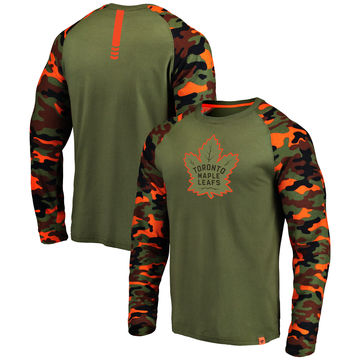 Toronto Maple Leafs Fanatics Branded Olive Camo Recon Long Sleeve Raglan T-Shirt