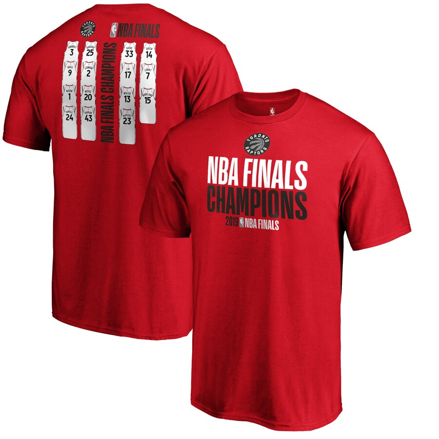 Toronto Raptors Fanatics Branded 2019 NBA Finals Champions Team Ambition Roster T-Shirt Red