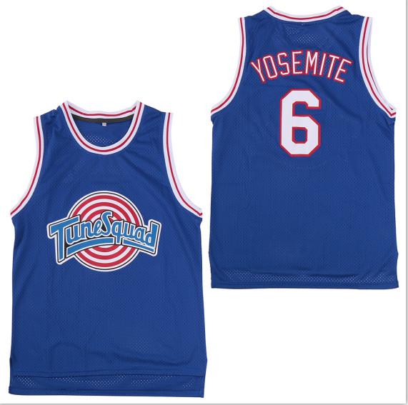 Tune Squad 6 Yosemite Blue Stitched Movie Basketball Jersey
