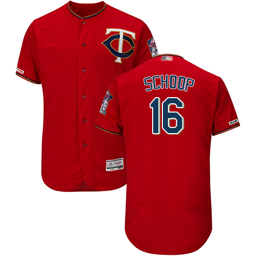 Twins #16 Jonathan Schoop Red Flexbase Authentic Collection Stitched Baseball Jersey