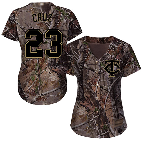 Twins #23 Nelson Cruz Camo Realtree Collection Cool Base Women's Stitched Baseball Jersey