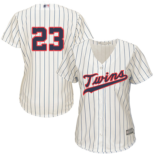 Twins #23 Nelson Cruz Cream Strip Alternate Women's Stitched Baseball Jersey